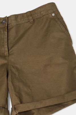 Linen blend: Garment-washed shorts, OLIVE, detail