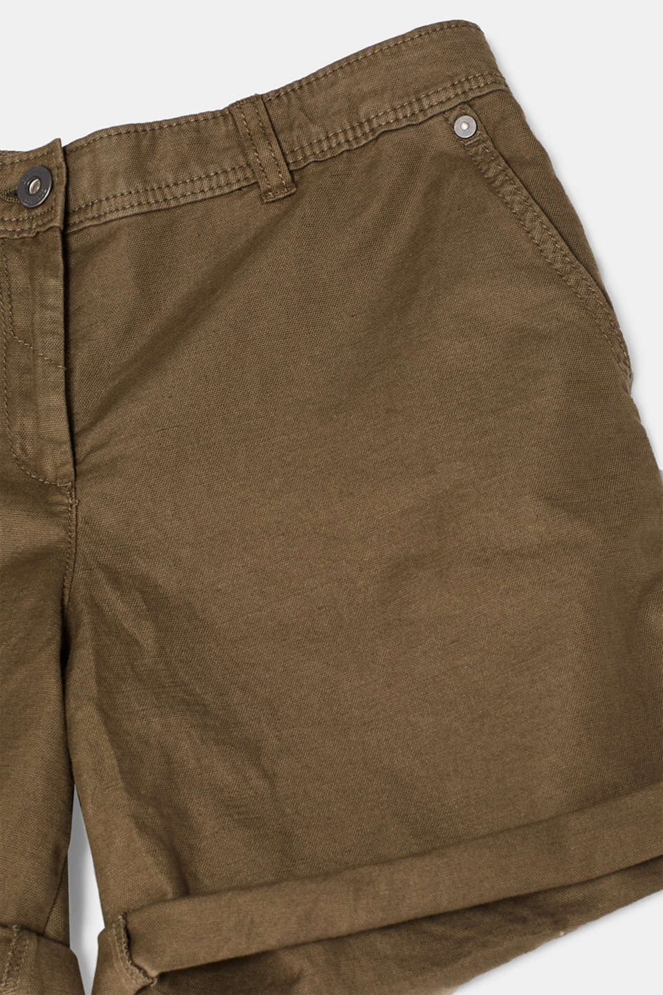 Linen blend: Garment-washed shorts, OLIVE, detail image number 4