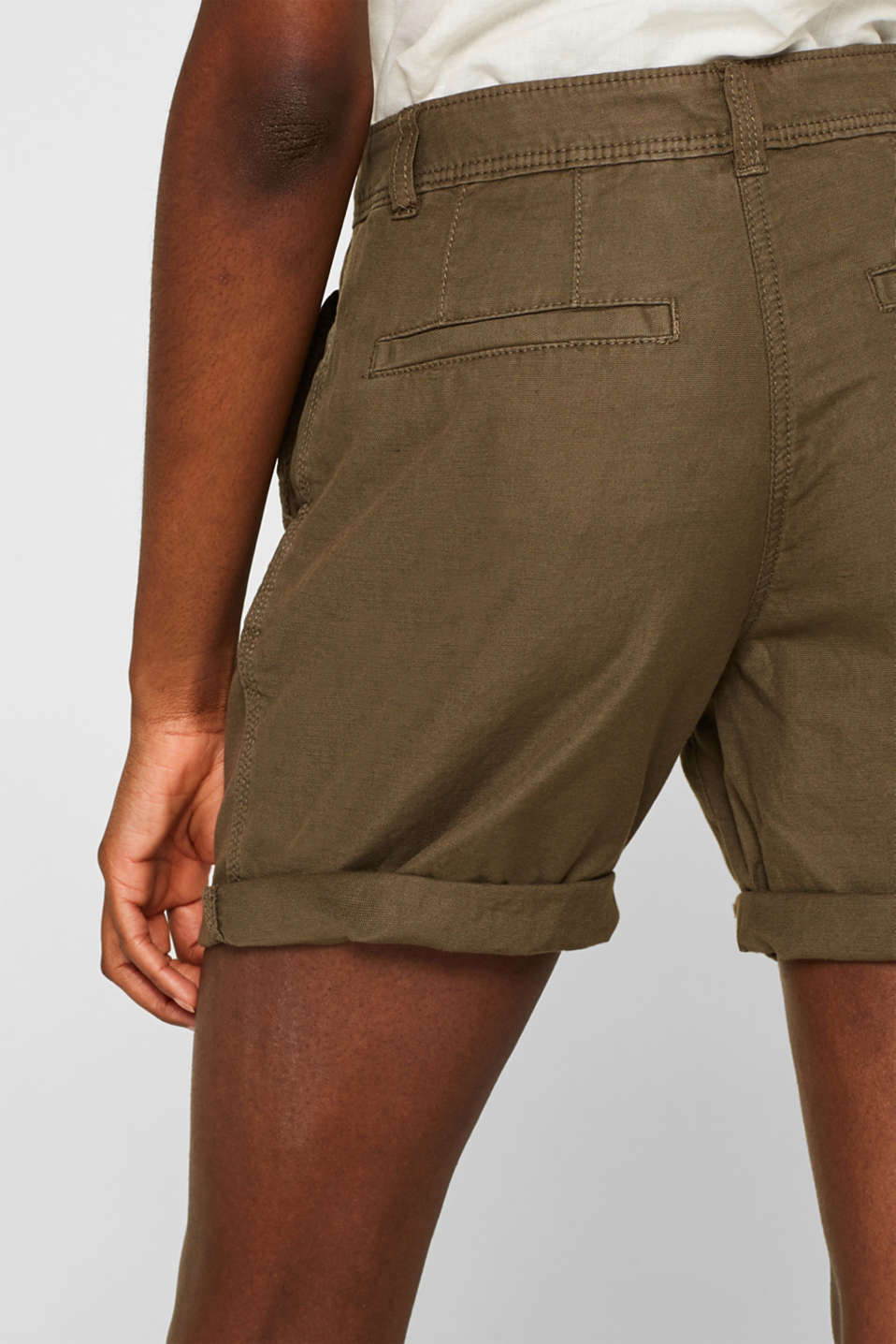 Linen blend: Garment-washed shorts, OLIVE, detail image number 6