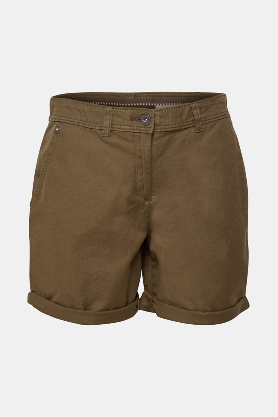 Linen blend: Garment-washed shorts, OLIVE, detail image number 8