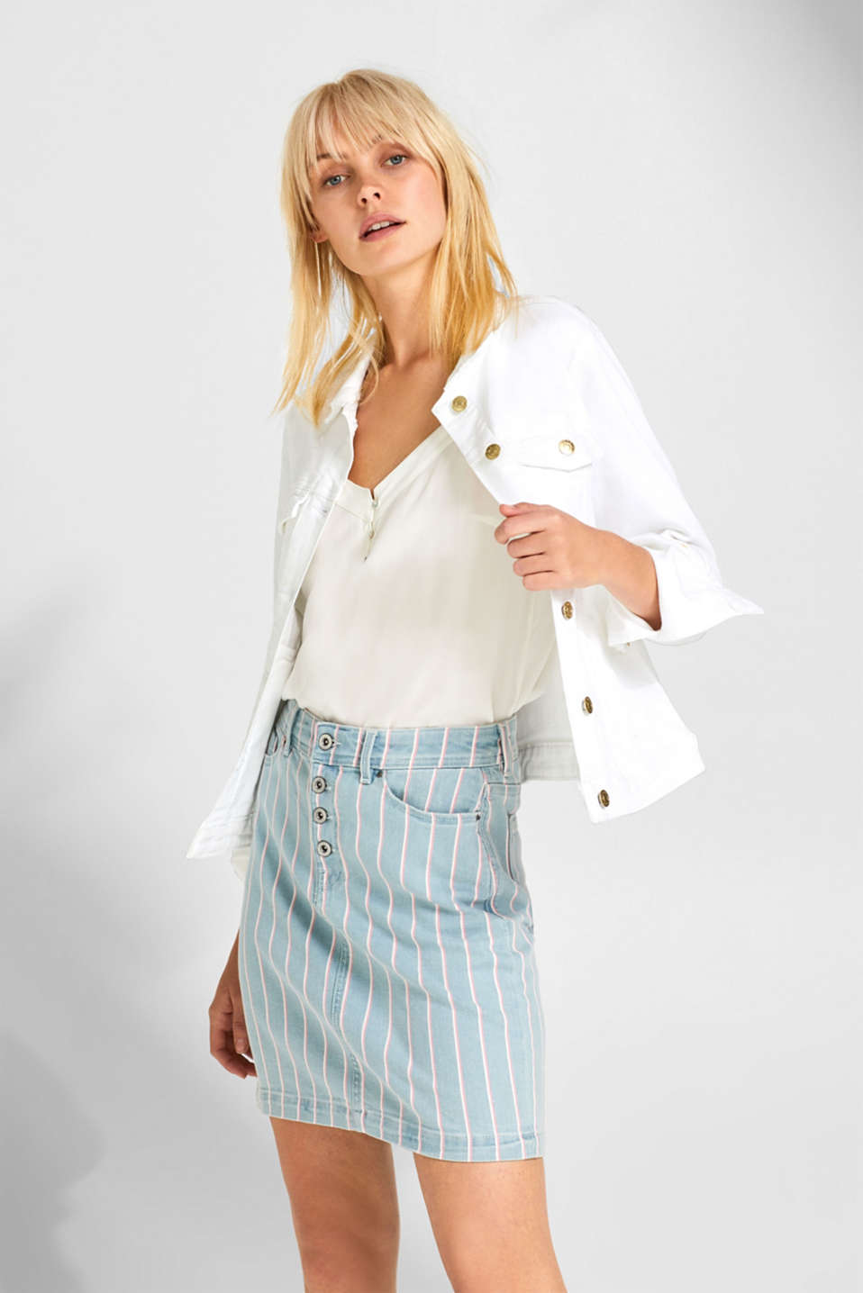 edc - Stretch denim skirt with stripes and button placket