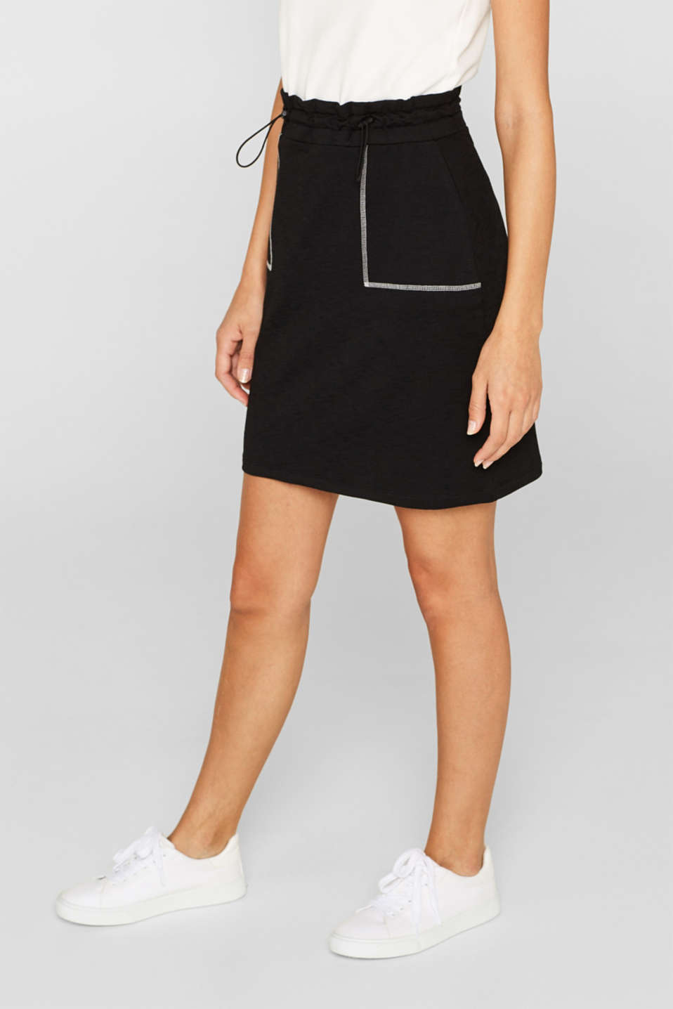 Stretch jersey skirt with a drawstring waist, BLACK, detail image number 5