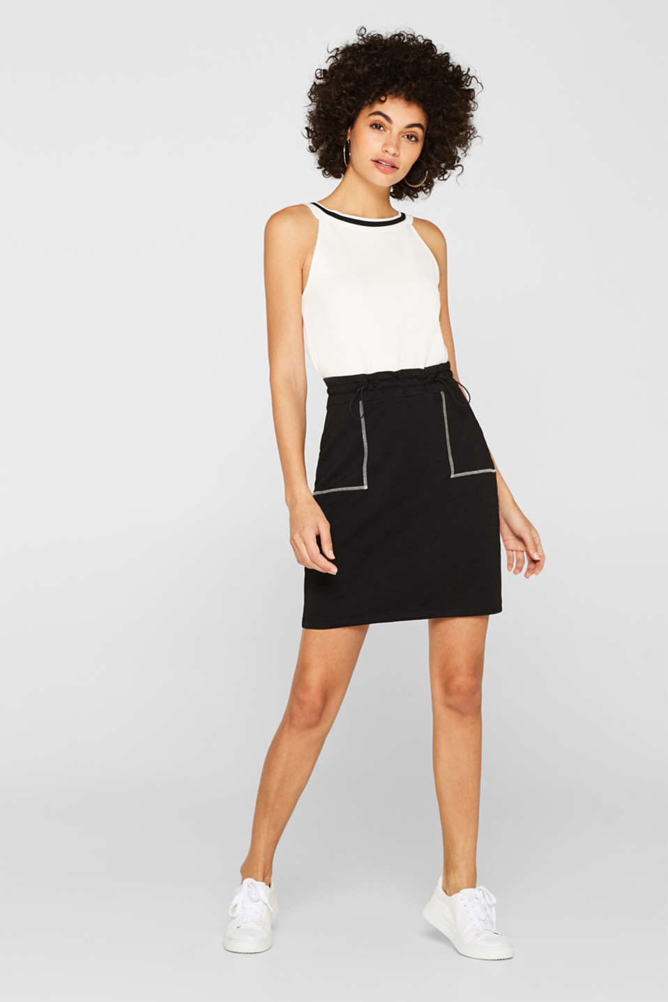 Stretch jersey skirt with a drawstring waist, BLACK, detail image number 1