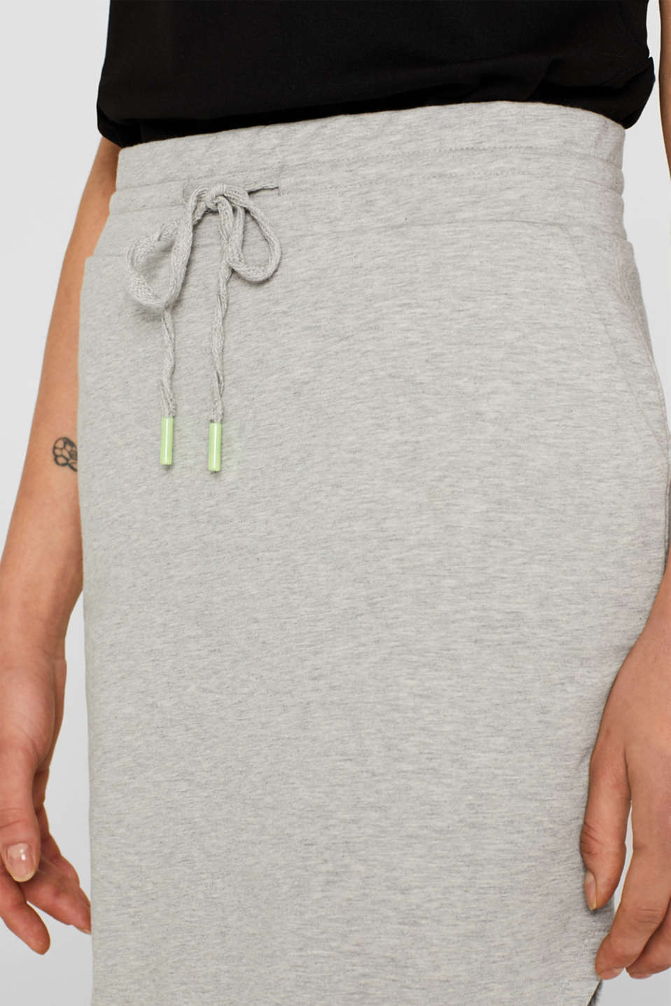 Sweatshirt fabric skirt with stretch and neon details, MEDIUM GREY, detail image number 2