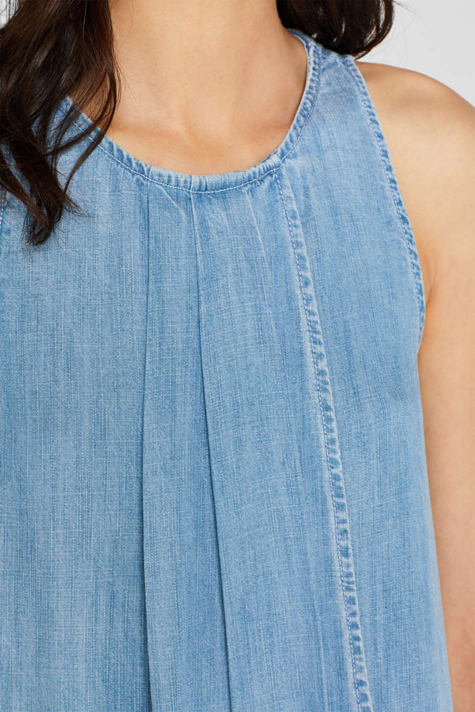 Denim-look layered dress in lyocell, BLUE LIGHT WASH, detail image number 3