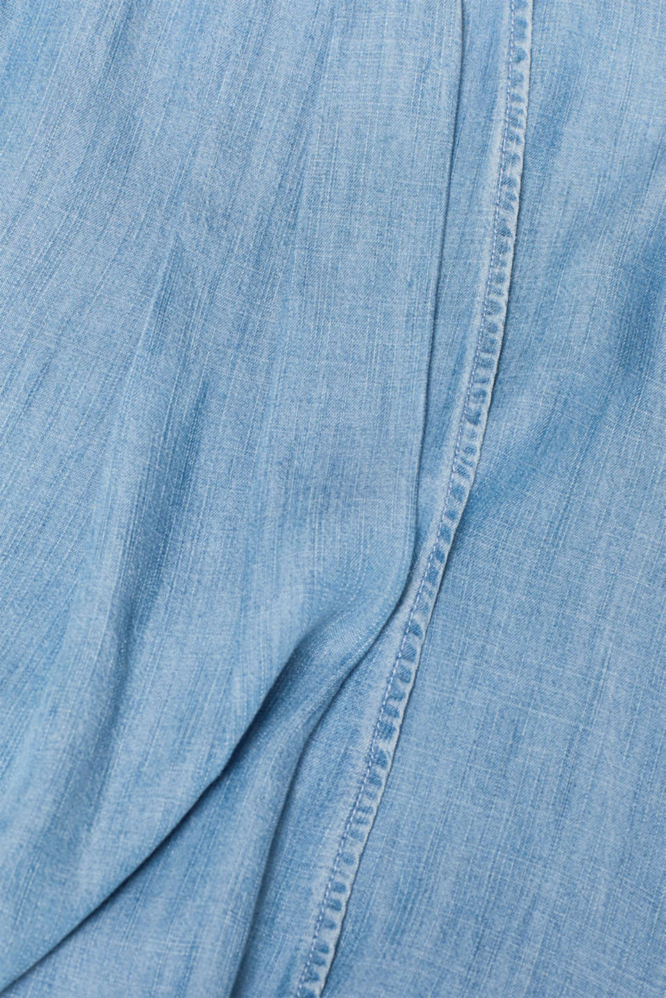 Denim-look layered dress in lyocell, BLUE LIGHT WASH, detail image number 4
