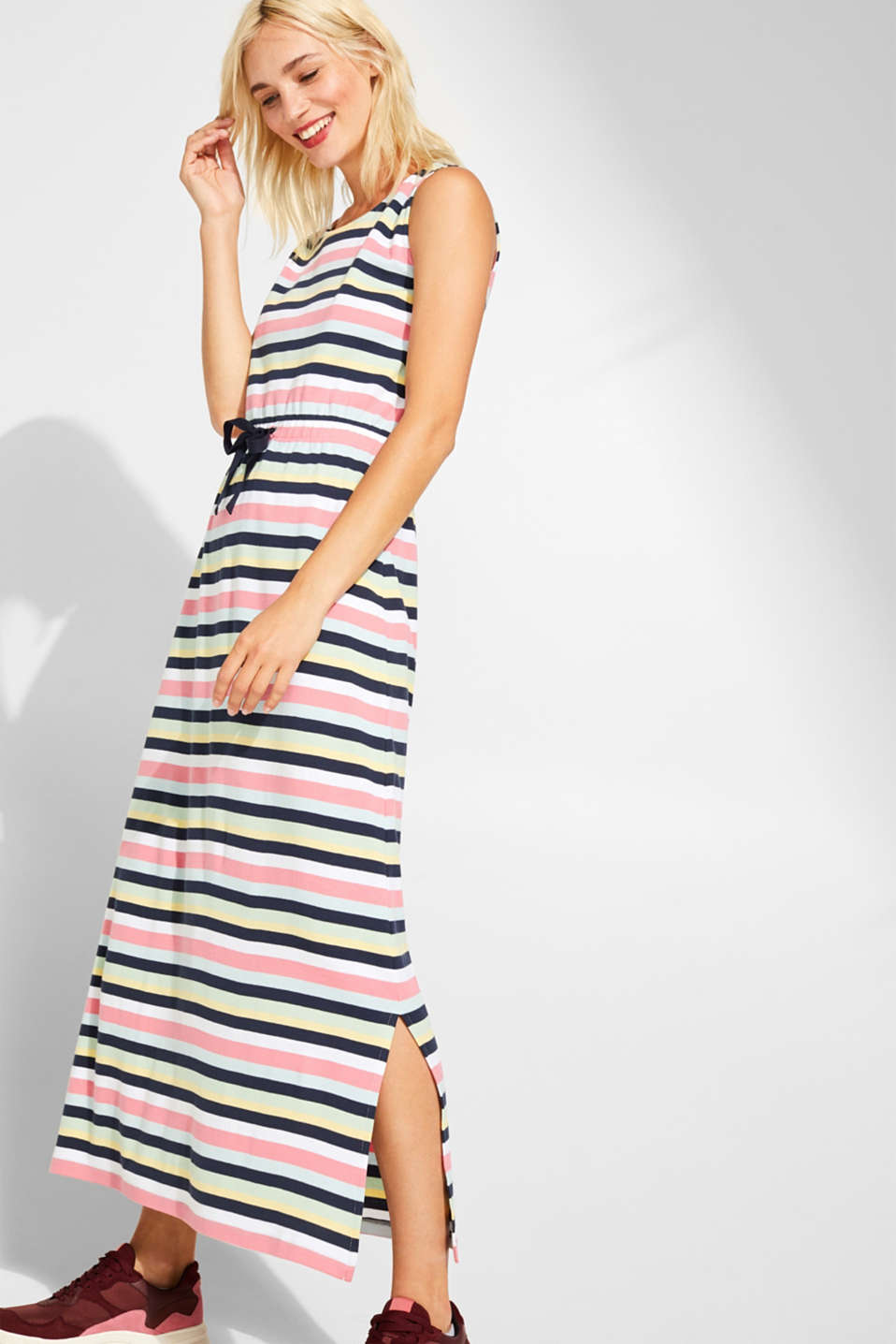 edc - Jersey maxi dress with stripes, 100% cotton