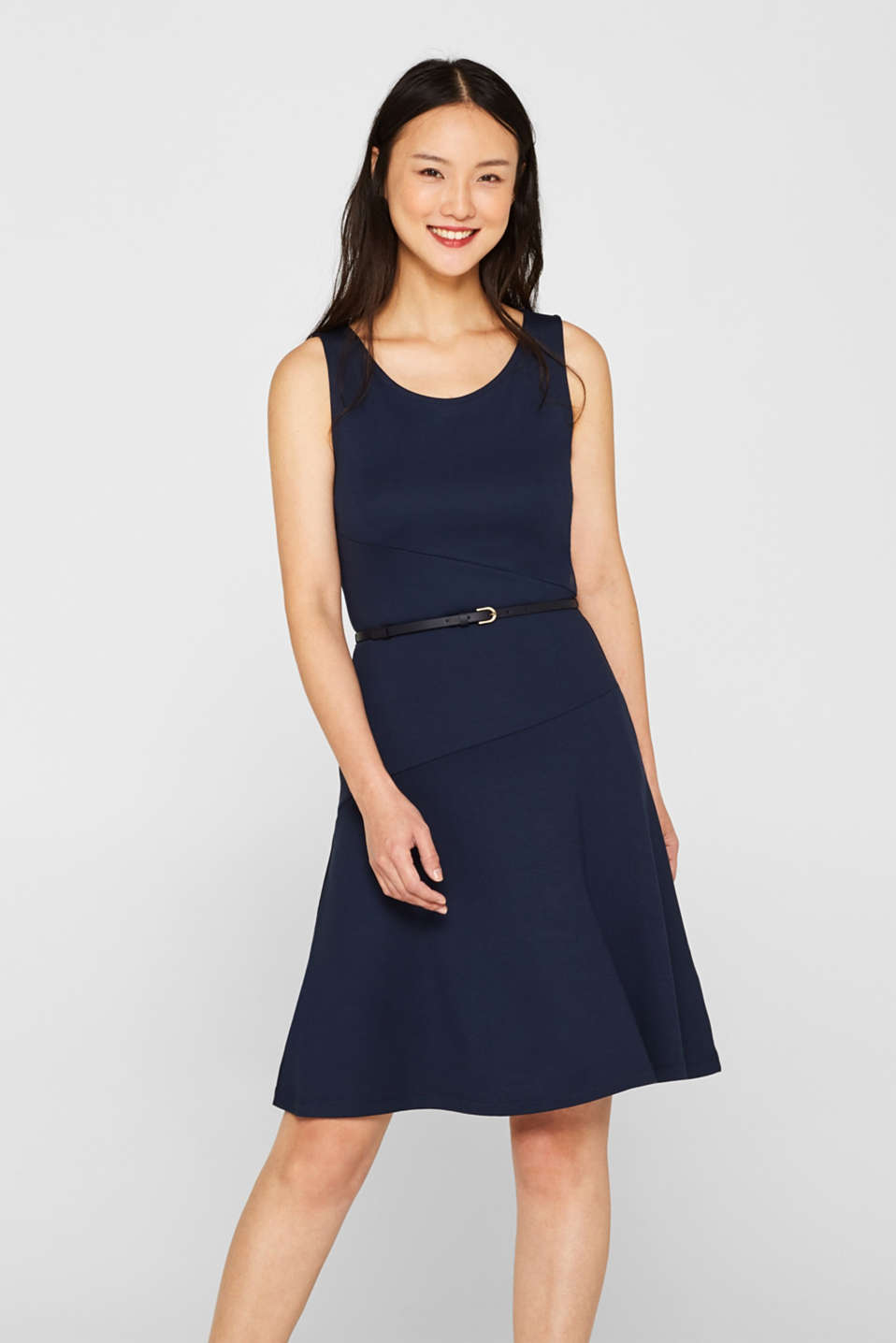 edc - Stretch jersey dress with a narrow belt