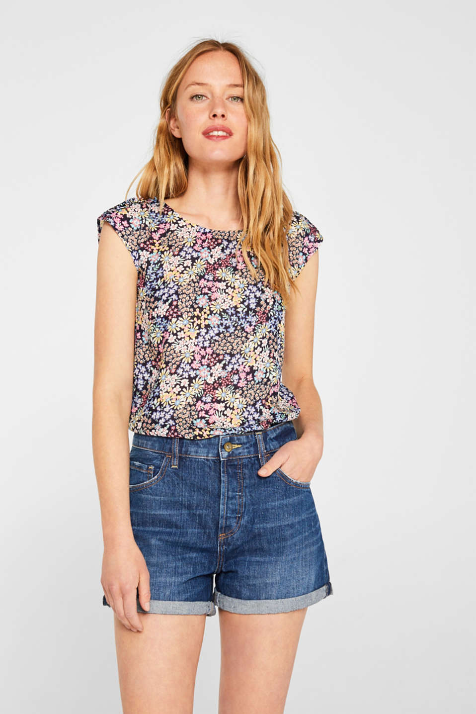 edc - Blouse top with print and frill details