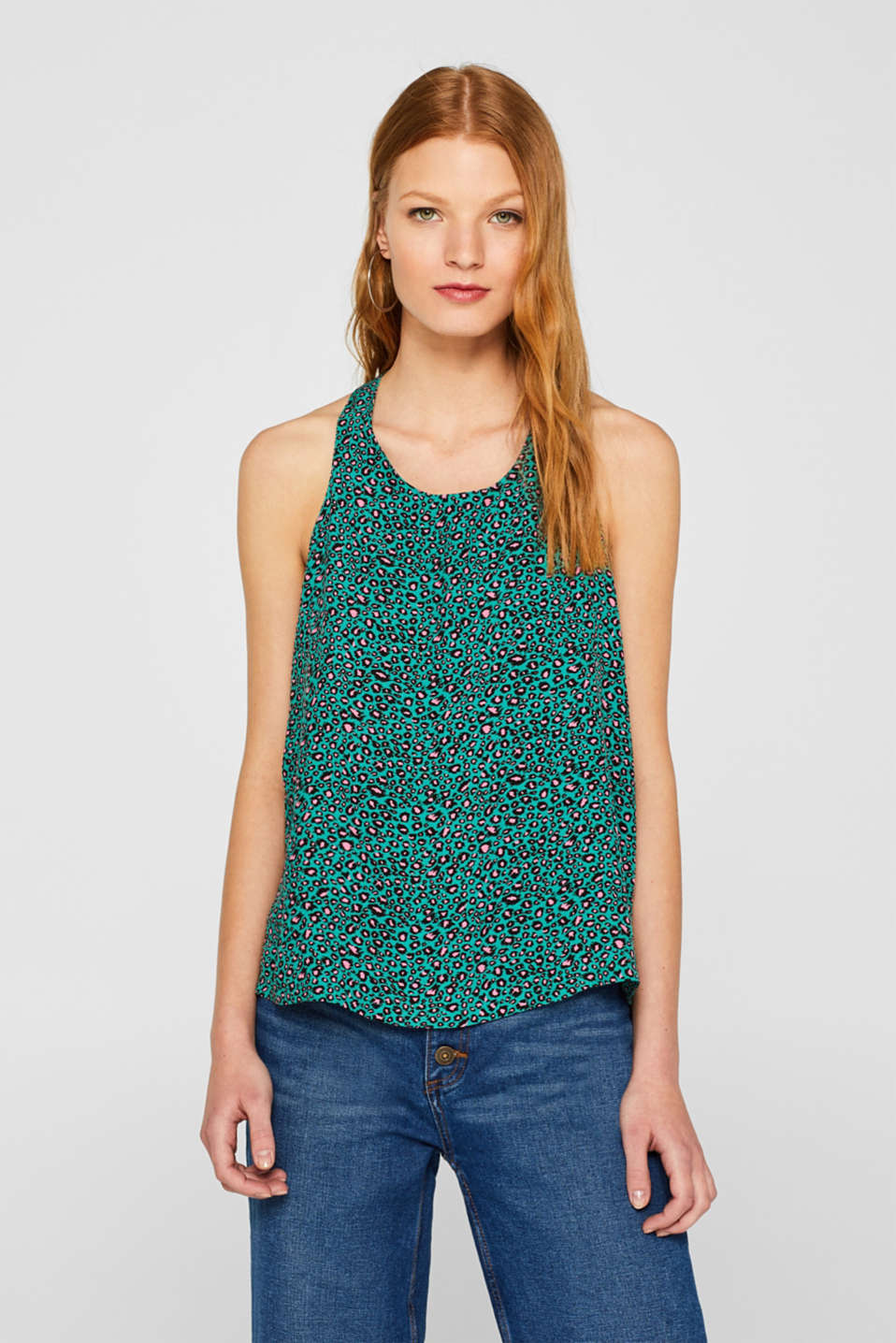 edc - Patterned blouse with a striking back neckline