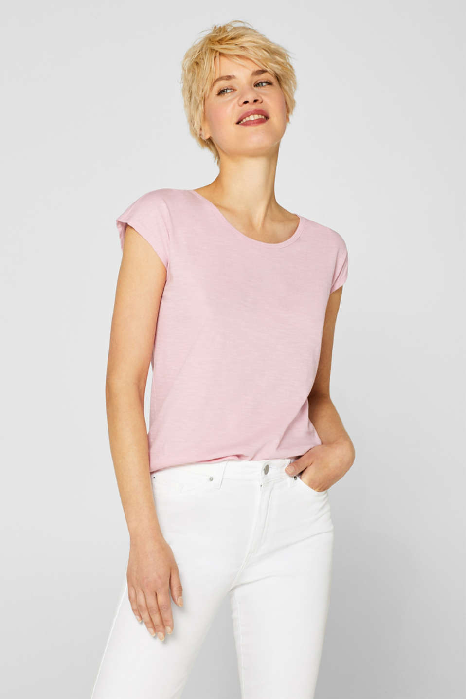 edc - Top with a sophisticated back, 100% cotton