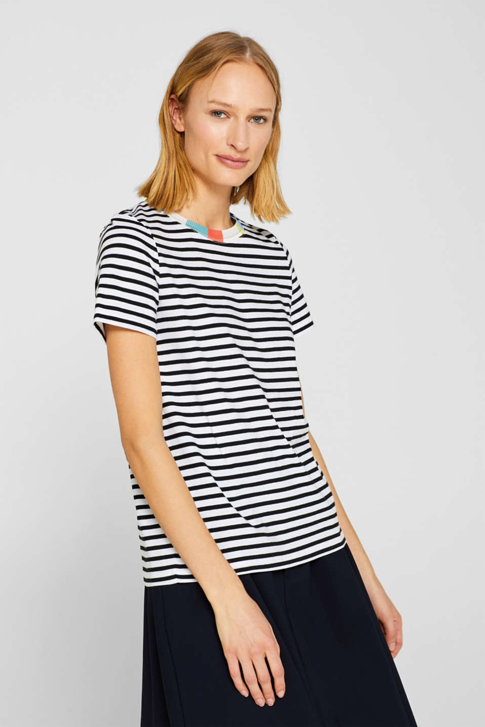 edc - Striped T-shirt with a decorative trim, 100% cotton