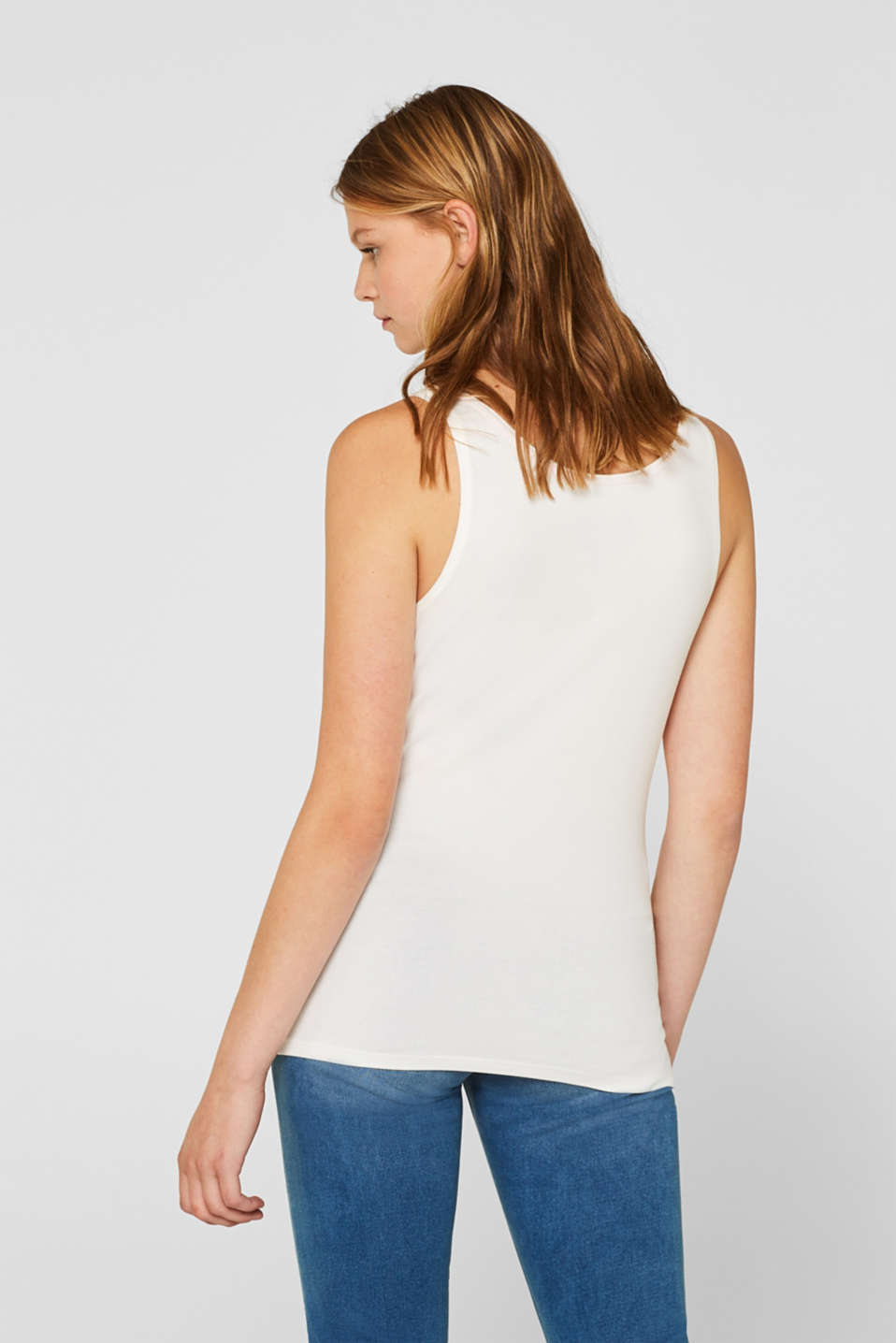 Stretch vest containing organic cotton, OFF WHITE, detail image number 3