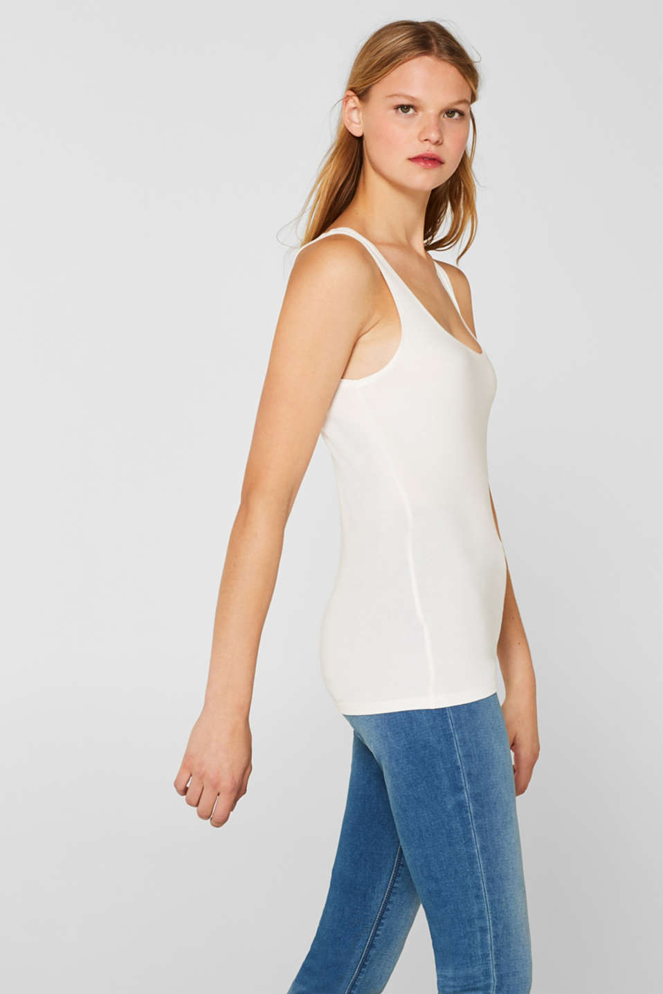 Stretch vest containing organic cotton, OFF WHITE, detail image number 5