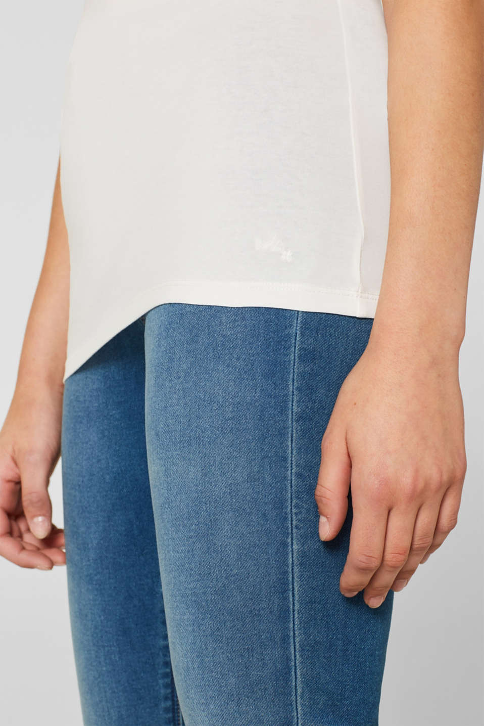 Stretch vest containing organic cotton, OFF WHITE, detail image number 2