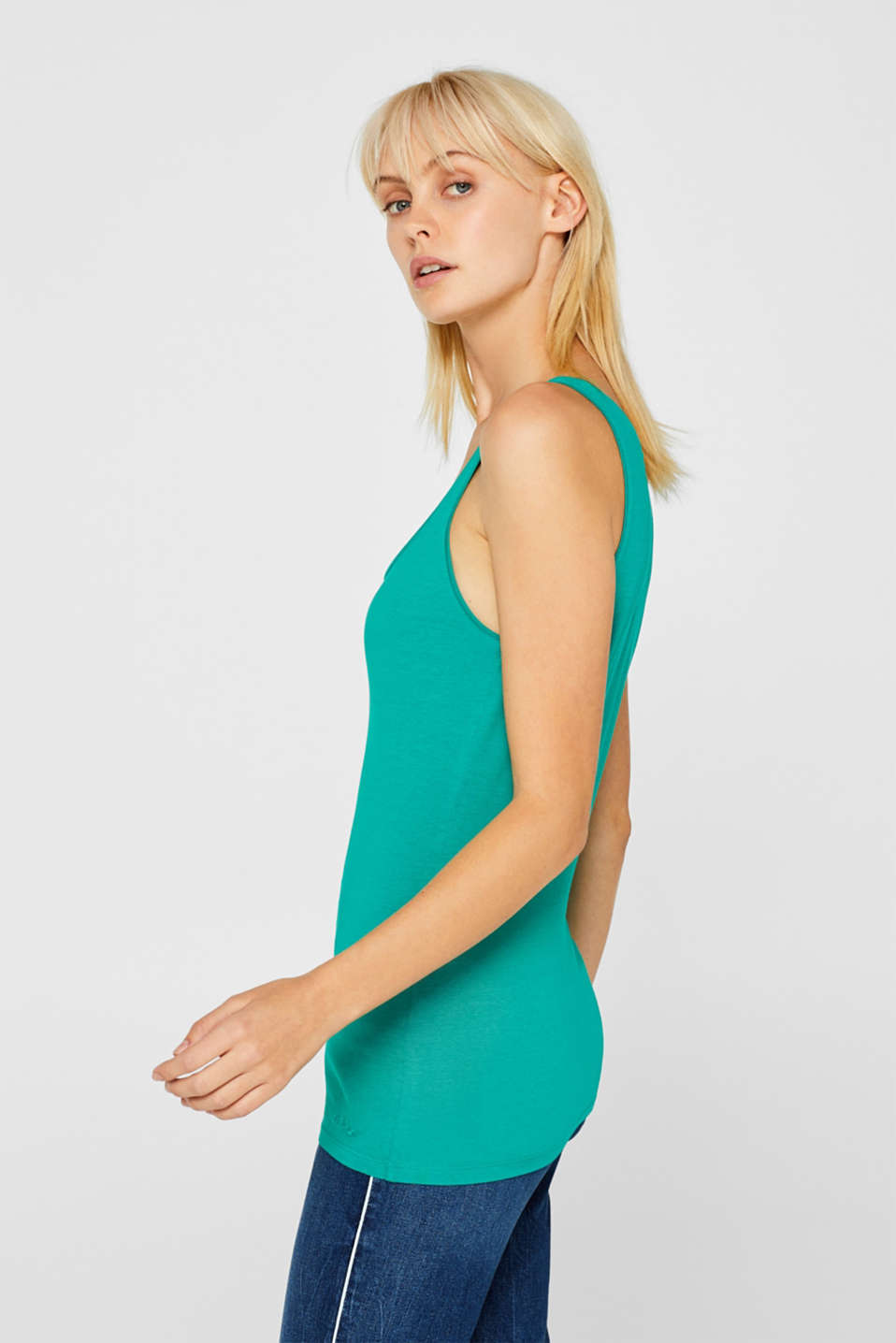 Stretch vest containing organic cotton, EMERALD GREEN 4, detail image number 5
