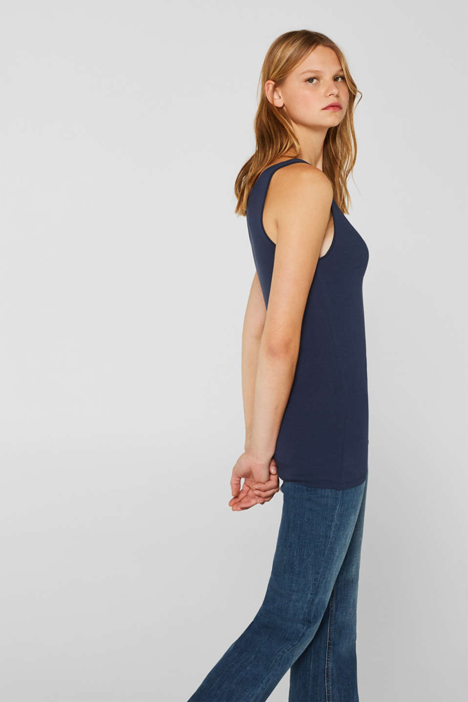 Stretch vest containing organic cotton, NAVY, detail image number 5