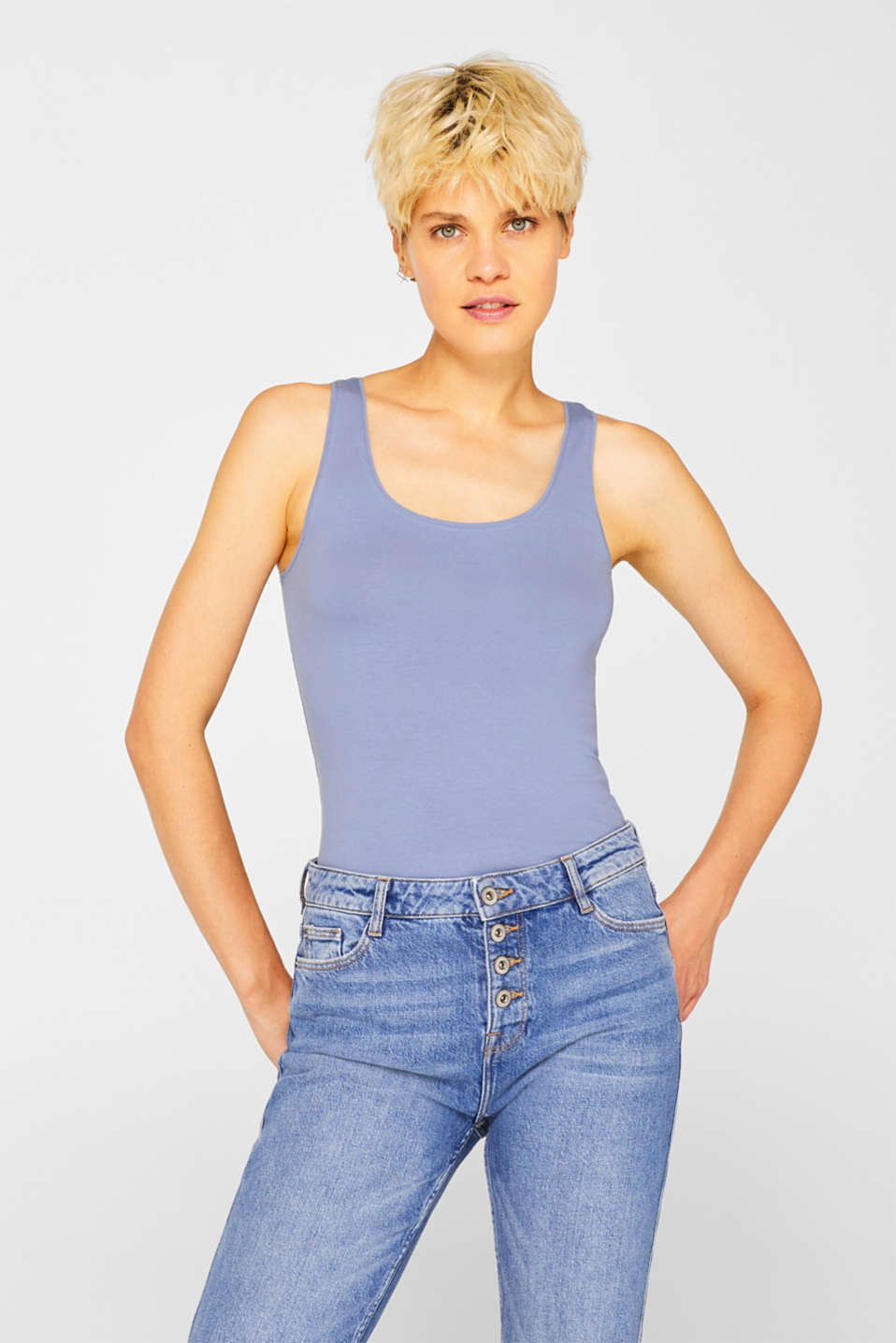 Stretch vest containing organic cotton, GREY BLUE 2, detail image number 0