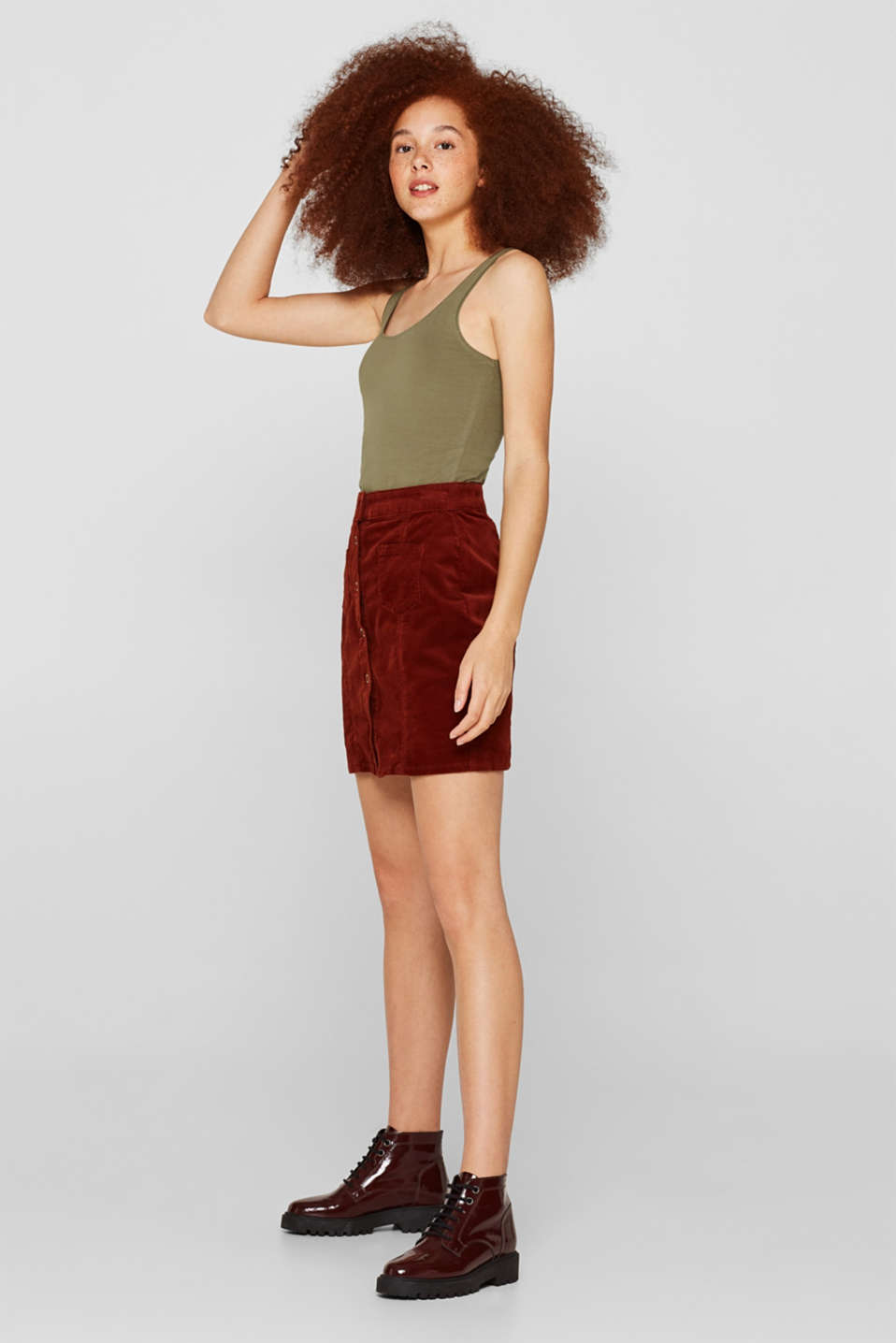 Long top with organic cotton, 100% cotton, KHAKI GREEN 4, detail image number 5