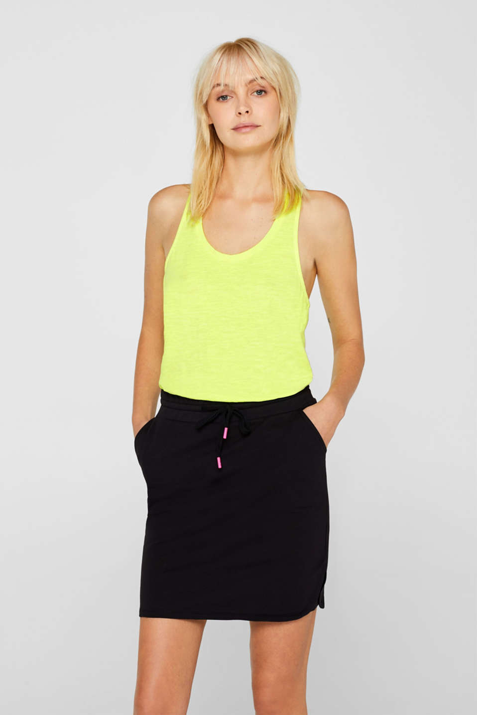 edc - Slub top with draped effect, 100% cotton