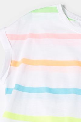 T-shirt with multi-coloured stripes in neon