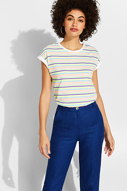 48b4a4a3 T-shirt with multi-coloured stripes in neon