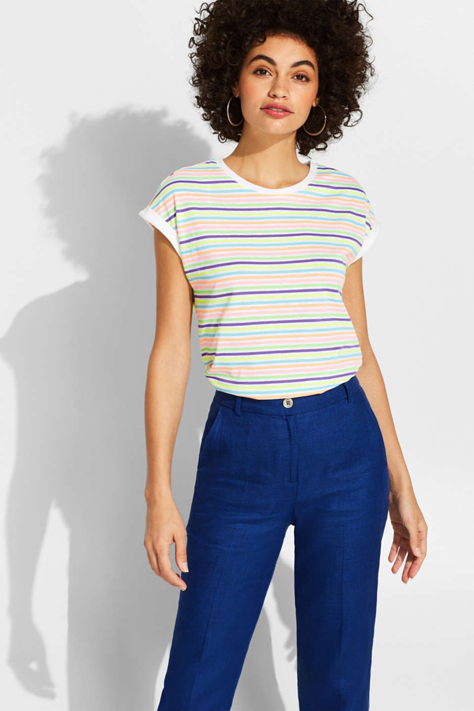 edc - T-shirt with multi-coloured stripes in neon