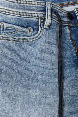Super stretch denim shorts in tracksuit fabric