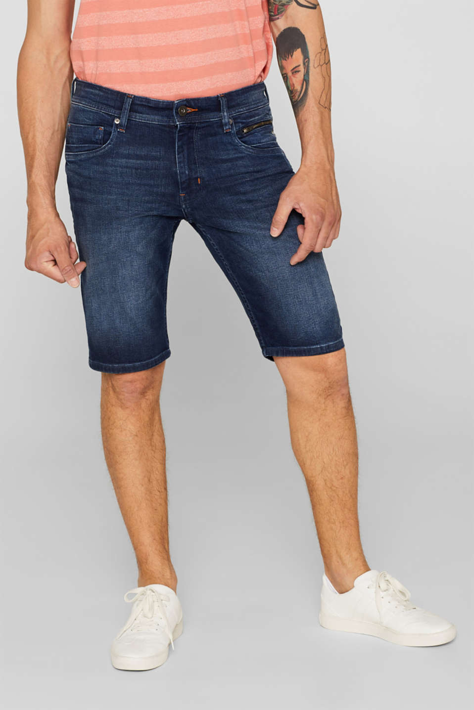 edc - Superstrech-Jeansshorts mit Organic Cotton