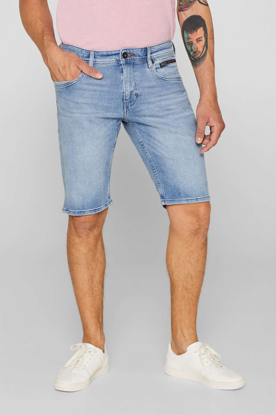 edc - Denim short met superstretch en organic cotton