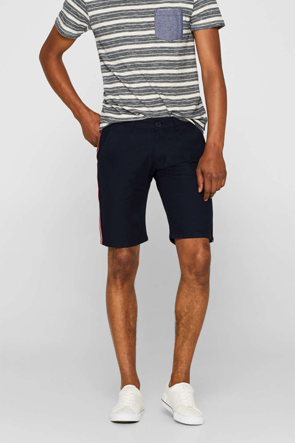 edc - Stretch cotton shorts with racing stripes