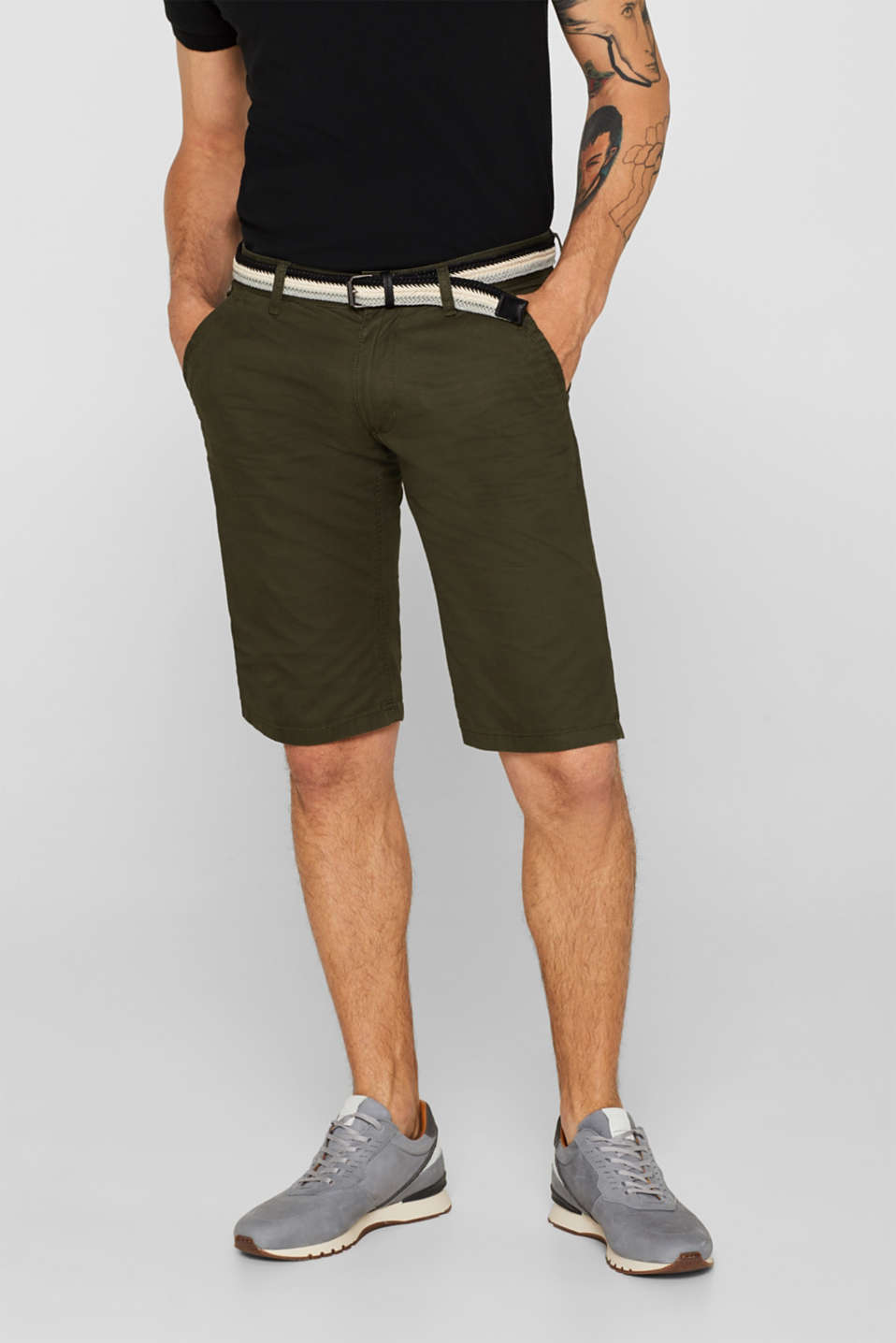 edc - 100% cotton shorts with a belt