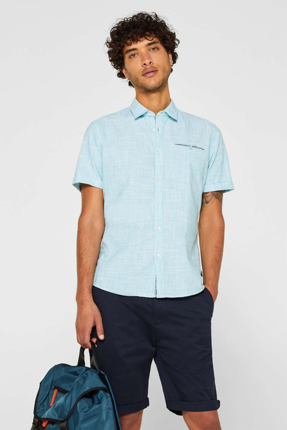 Shirts woven Slim fit, LIGHT AQUA GREEN, detail image number 0
