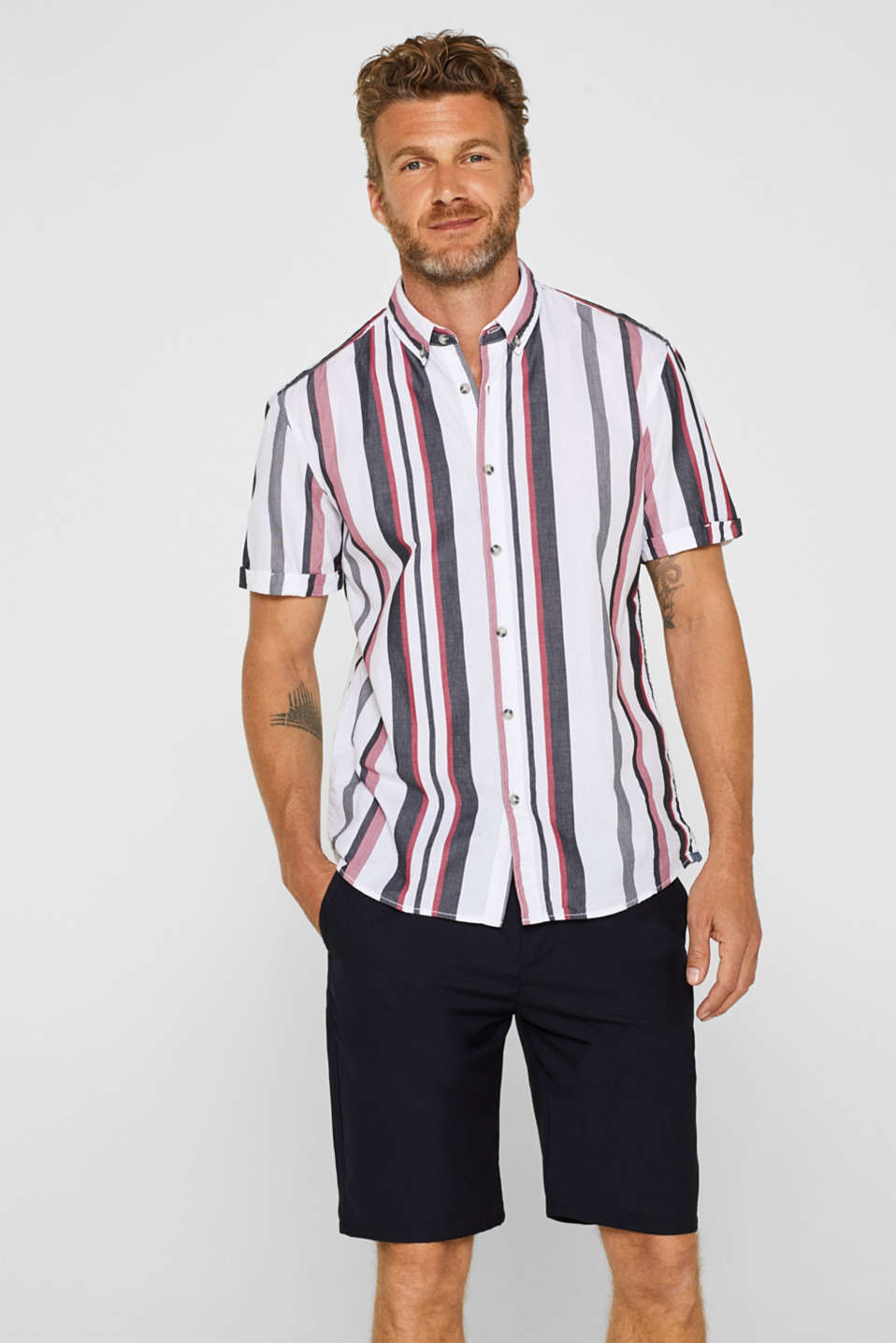 edc - Striped short sleeve shirt, 100% cotton