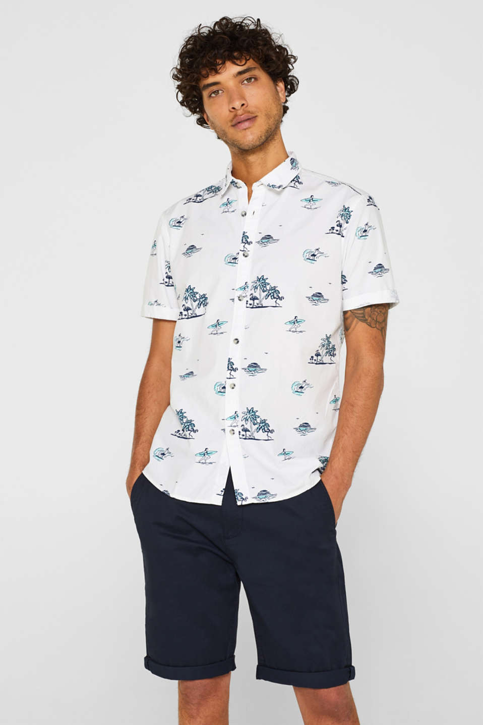 edc - Short-sleeved shirt with a motif print, 100% cotton