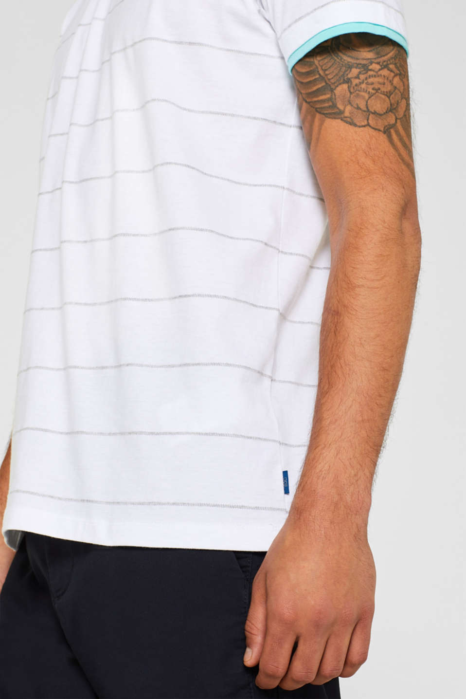 Striped jersey T-shirt, WHITE, detail image number 1