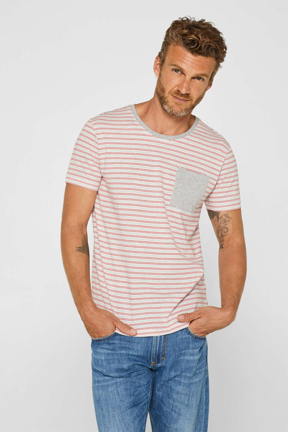 edc - Jersey T-shirt with stripes, 100% cotton