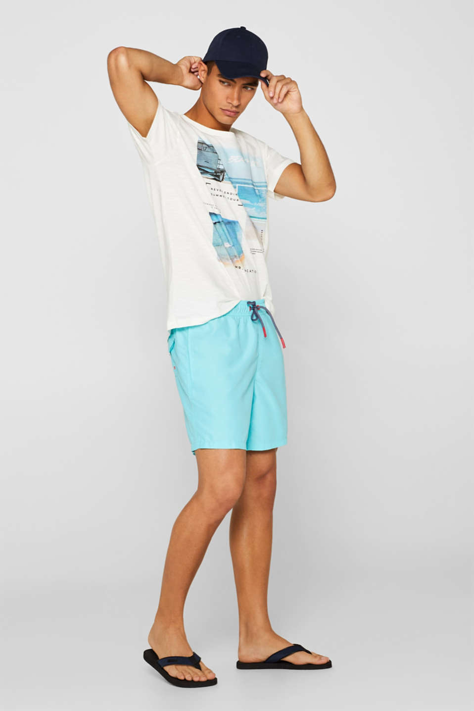 Jersey T-shirt with photo print, 100% cotton, OFF WHITE, detail image number 2