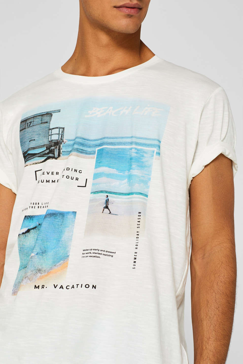 Jersey T-shirt with photo print, 100% cotton, OFF WHITE, detail image number 1