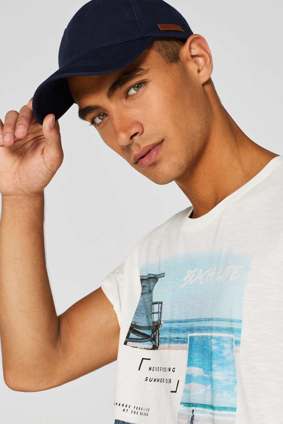 Jersey T-shirt with photo print, 100% cotton, OFF WHITE, detail image number 5