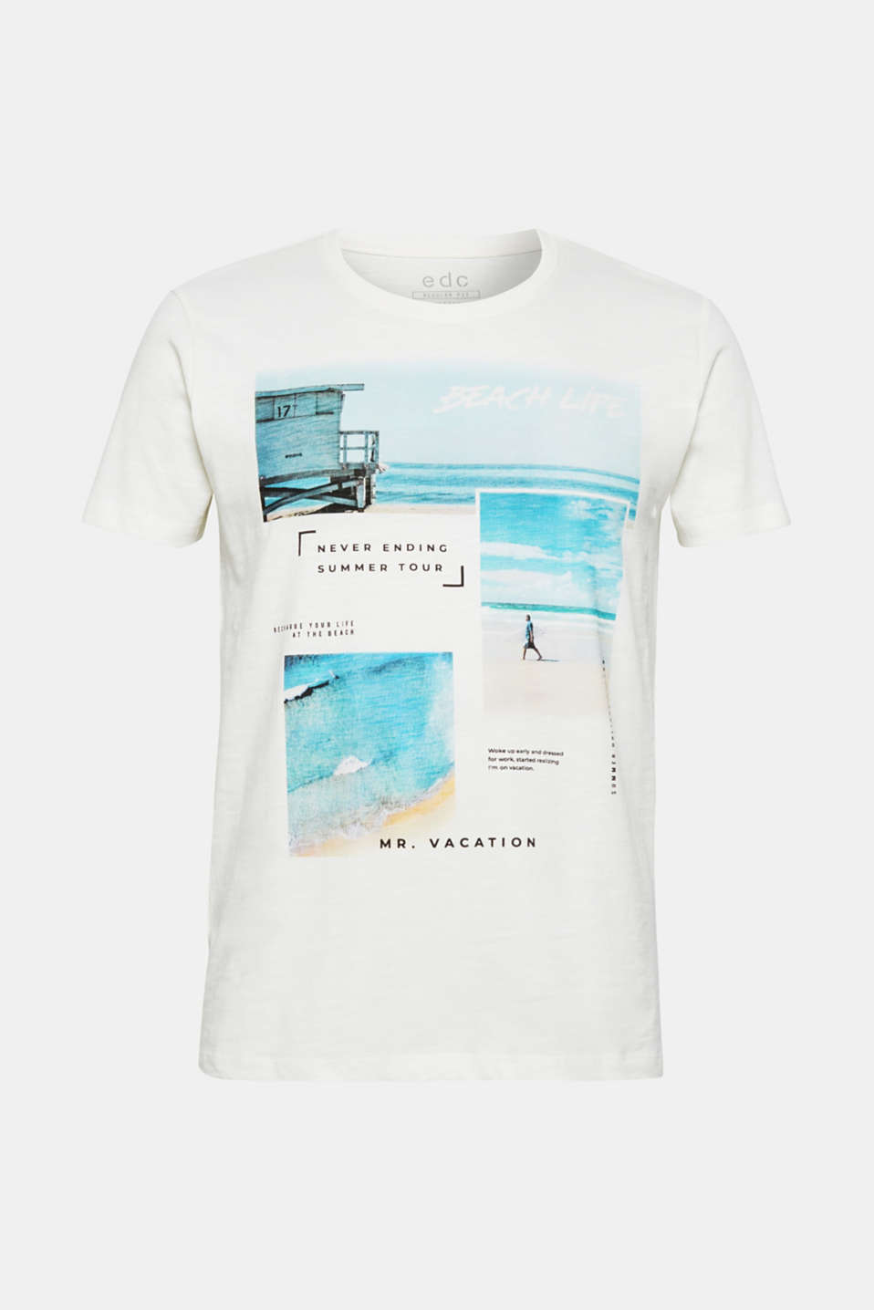 Jersey T-shirt with photo print, 100% cotton, OFF WHITE, detail image number 6