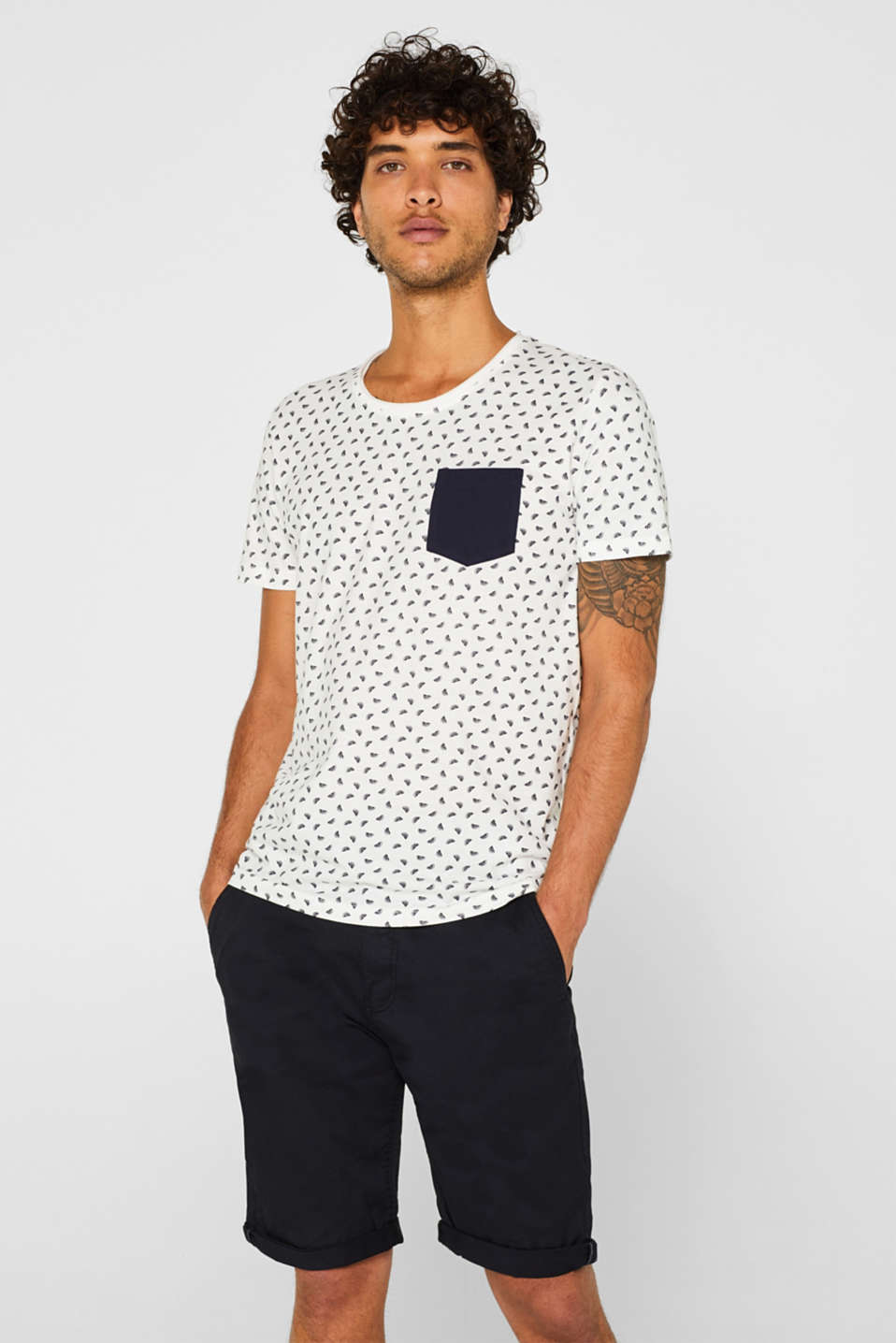 edc - T-shirt en jersey à imprimé all-over, 100 % coton