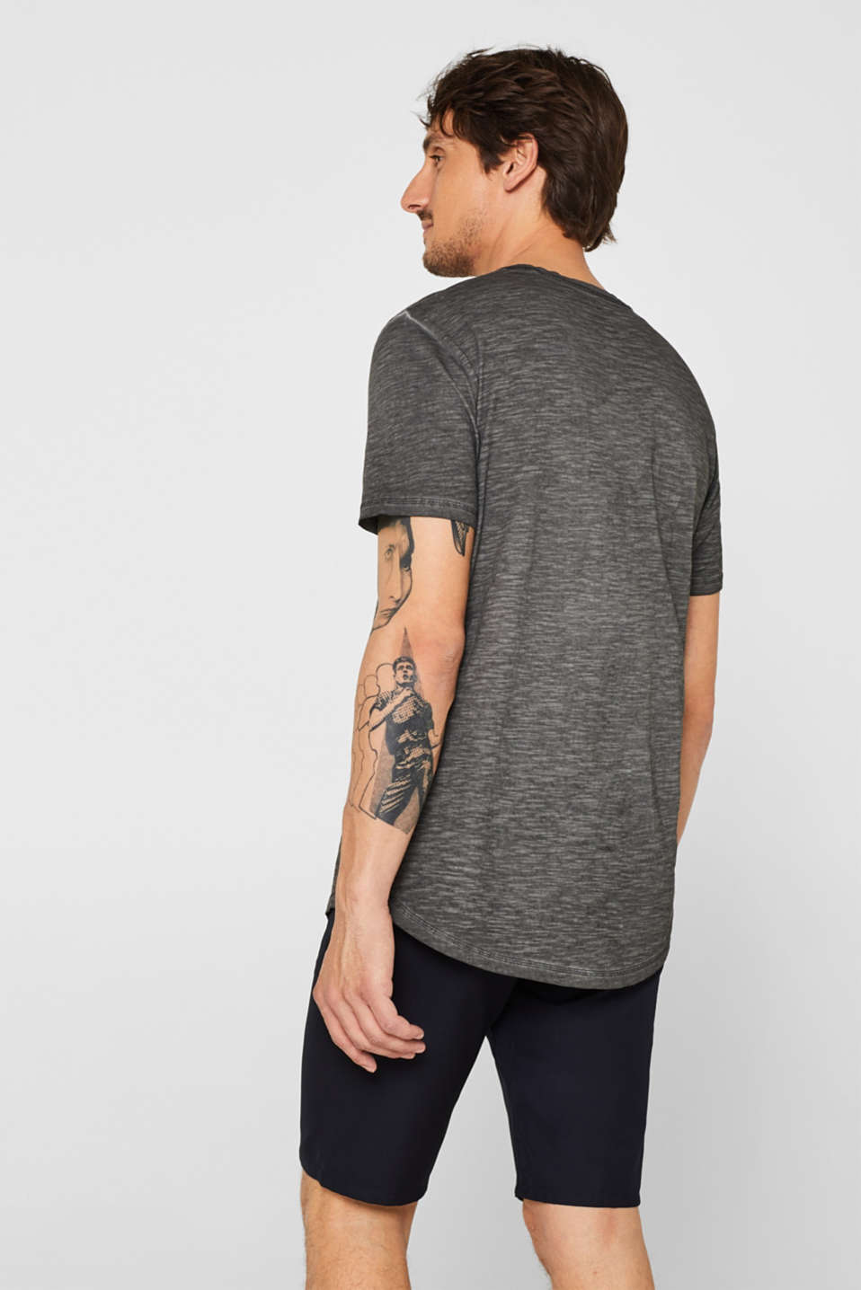 Long slub jersey T-shirt, 100% cotton, DARK GREY, detail image number 3