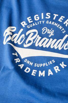 Jersey T-shirt with a print, 100% cotton, BLUE, detail