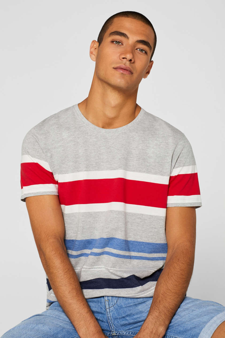 Striped jersey T-shirt, MEDIUM GREY, detail image number 5