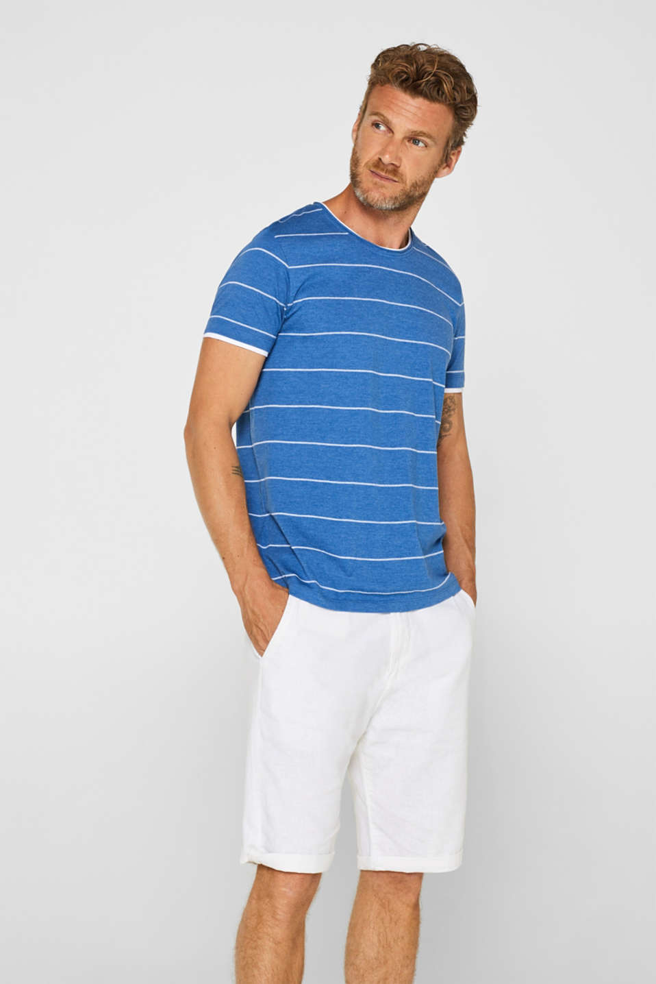 edc - 100% cotton-jersey tee with textured stripes