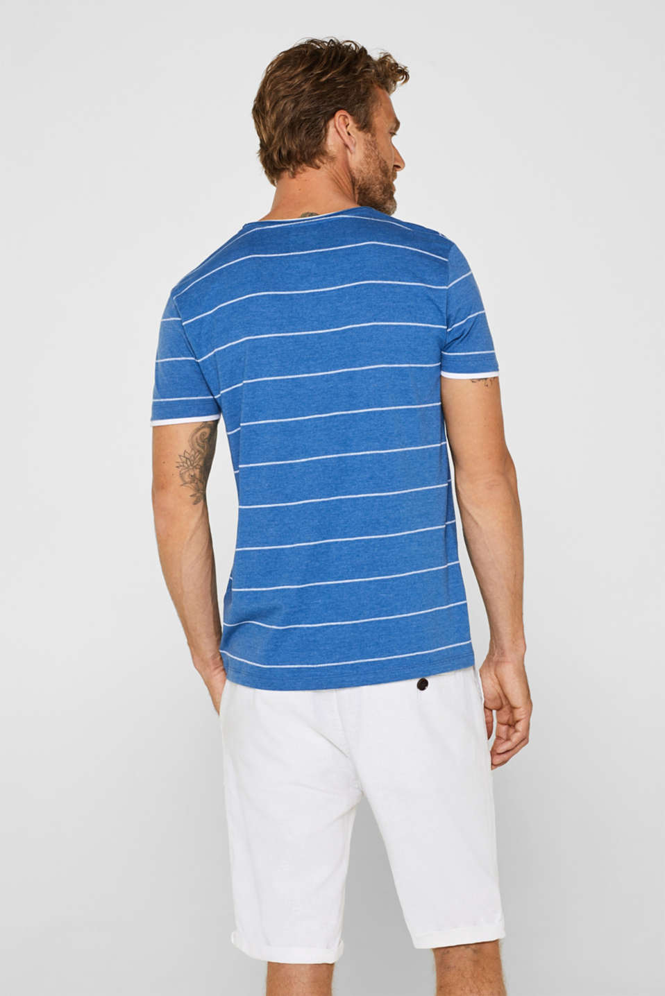 100% cotton-jersey tee with textured stripes, BLUE, detail image number 3