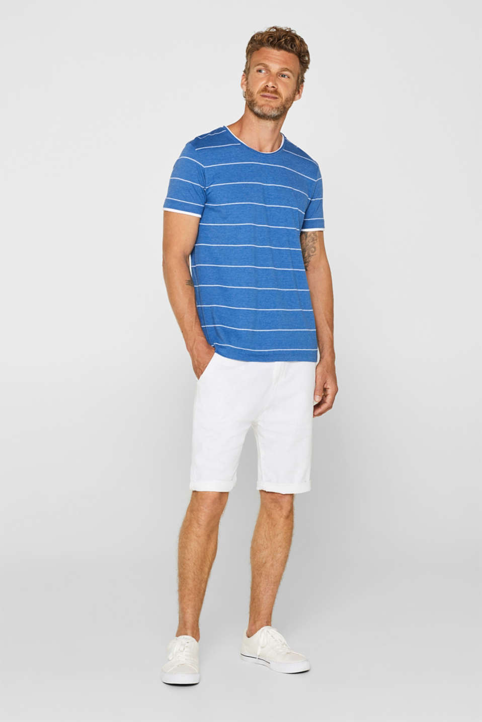 100% cotton-jersey tee with textured stripes, BLUE, detail image number 2