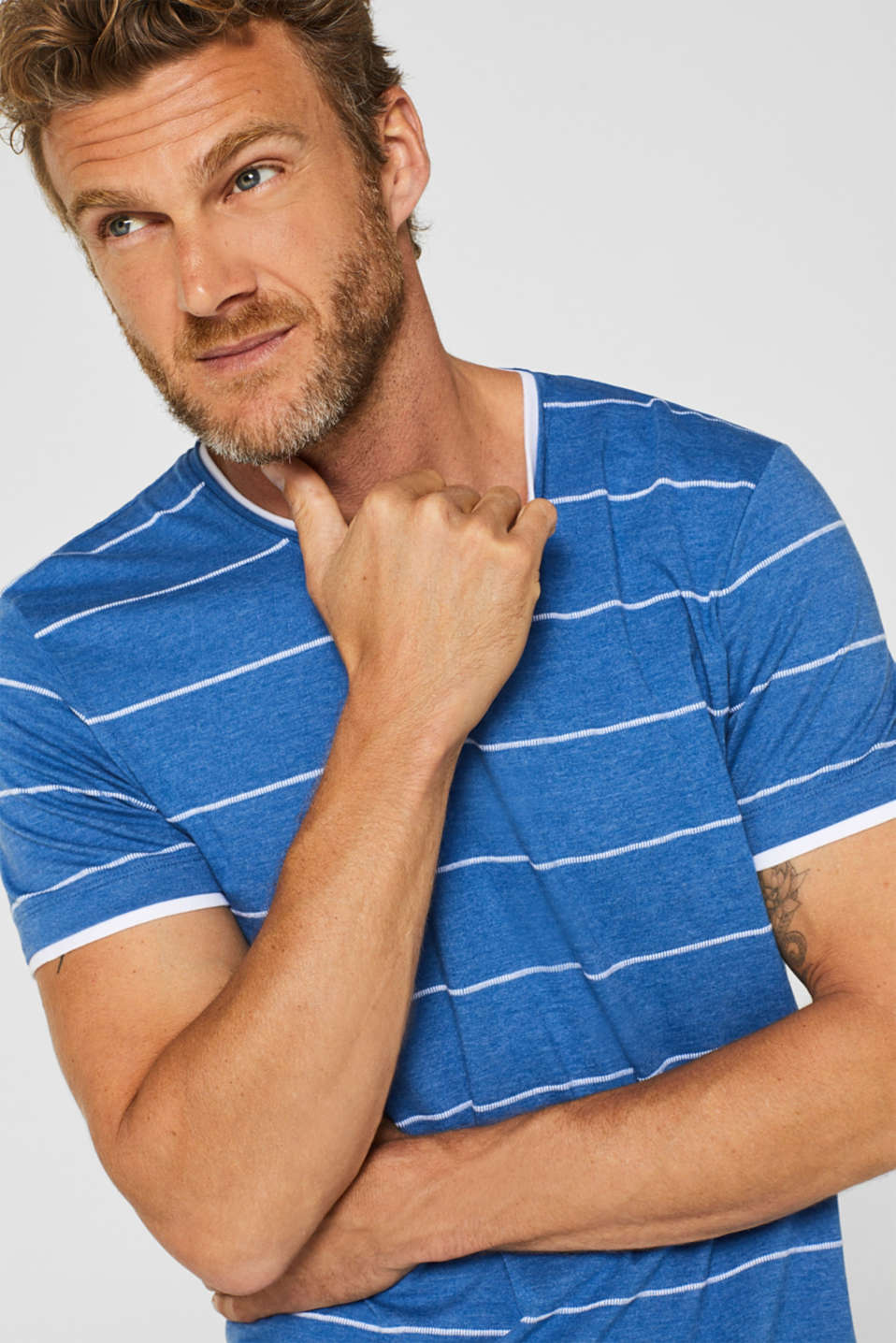 100% cotton-jersey tee with textured stripes, BLUE, detail image number 5