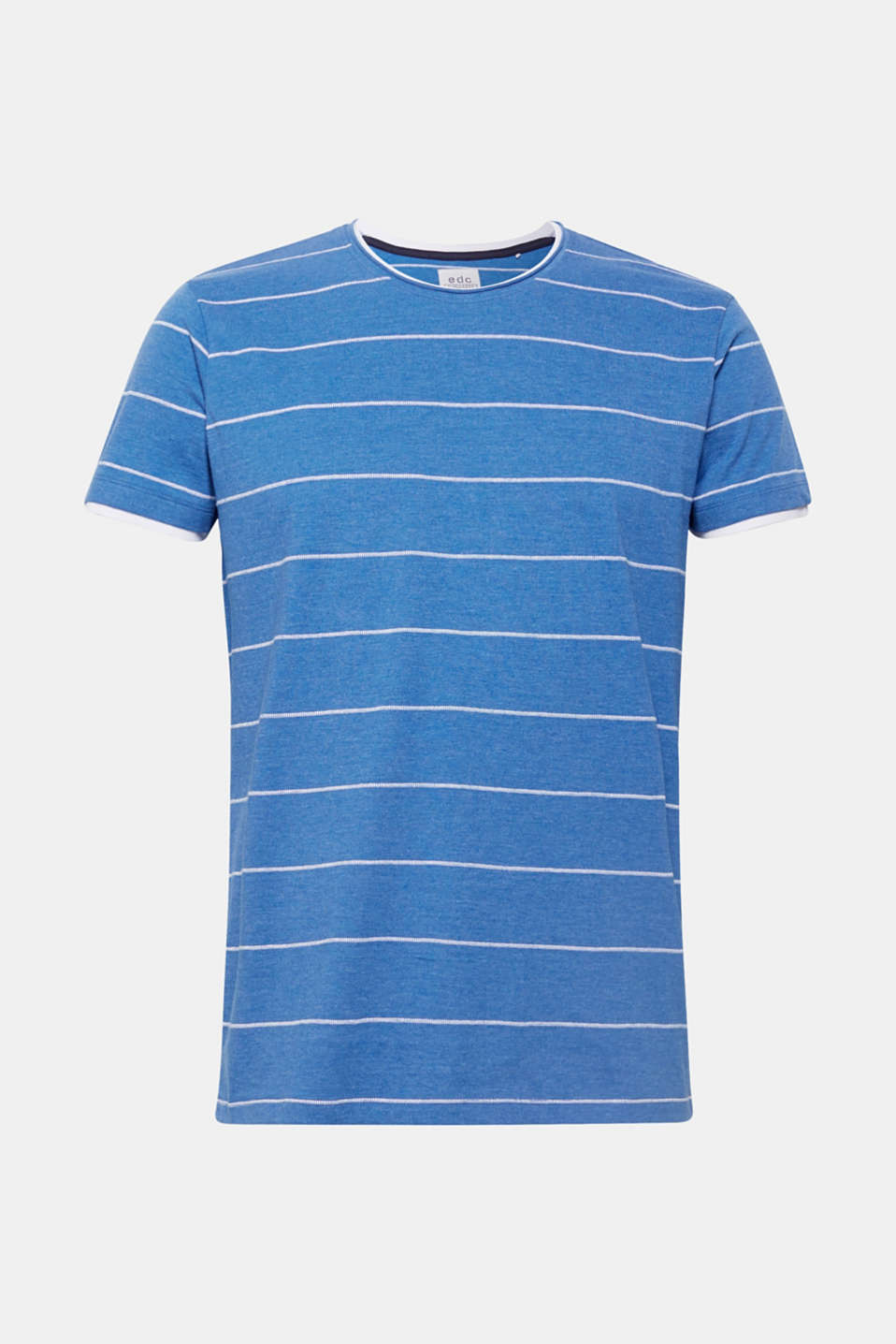 100% cotton-jersey tee with textured stripes, BLUE, detail image number 6